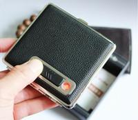 en iyi sigara kılıfları toptan satış-Toptan - (16 sigara) çakmak ile deri sigara kutusu, Siyah sigara durumda USB elektronik sigara doldurulabilir çakmaklar