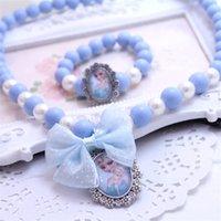 ingrosso bambole congelate-Gioielli per bambini Accessori bambola per bambini Frozen Princess Girl Necklace Bracelet Set 2 pezzi / lotto Candy Beads Necklace Girls Gifts