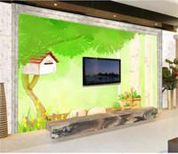 Wholesale vintage wood desk resale online - Custom Size D Photo Wallpaper Kids Room Mural Cartoon Dashu Desk Spring Scenery Picture Sofa TV Backdrop Home Decor Creative Hotel Wallpape