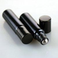 schwarze augenflasche großhandel-5 ml / 10 ml Classic Black UV Beschichtung Glas Ätherisches Öl Flasche Stahl Roller Augencreme Jar 1 / 3oz Stahlkugel Glaskugel für Sie Großhandel