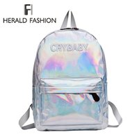 Wholesale backpacks for embroidery resale online - Herald Fashion Women Hologram Laser Backpack Hip hop Style Embroidery Letters Crybaby School Bags For Girls Leather Student Bag