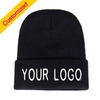 ingrosso nomi dei colori d'autunno-Personalized Custom Beanie Hat Skullie Cappellino Slouchy Winter Autumn Logo del ricamo Scegli il tuo preventivo Nome Design Testo Colore del filo
