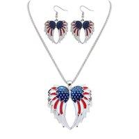 patriotischen schmuck großhandel-Neue Gold Versilbert Independence Day USA Flagge Patriotische Flügel Design Frauen Halskette Ohrringe Schmuck-Set für Dame