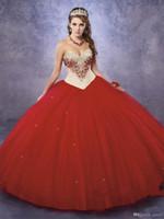 boléro à robe rouge achat en gros de-Robes de Champagne et de Quinceanera rouge vif avec robe de princesse gratuite Bolero pour Sweet 15 16 robes d'anniversaire