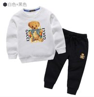korean casual clothes for girls toptan satış-2019 Patlama Çocuk giyim Kore Pamuk Rahat Erkek ve Kız Set 7556
