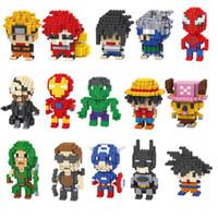 jouets de construction achat en gros de-Action Figures Building Block LNO Avengers Super héros Spiderman et Hulk Minifig Naruto bricolage petit bâtiment particules de diamant Blocs d'enfants Jouets