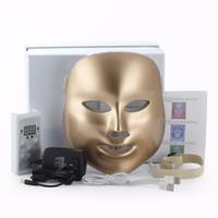 ingrosso maschera dorata per il viso-Vendita calda Golden 7 colori Photon Terapia maschera maschera di luce terapia acne maschera di bellezza Led maschera
