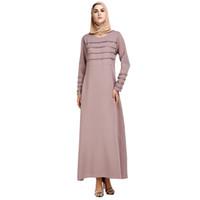 мода исламских платьев оптовых-Fashion Women Muslim Summer Print Trumpet Sleeve Embroidery Elegant Swing Islamic Maxi Dresses Clothes z0415