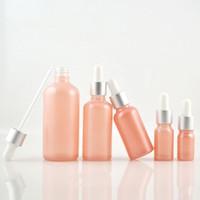ingrosso bottiglie a spruzzo olio essenziale di vetro-Flacone in vetro spruzzato rosa da 5ml Flacone in olio essenziale da 10 ml Flacone in vetro da 15ml 20ml Flaconi contenitori cosmetici riutilizzabili