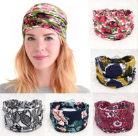 Wholesale color cotton hair band for sale - Group buy Fashion Ethnic Wind Hair Band width Edge Printing Headband Vintage floral solid color Retro Sports Yoga Hair accessories
