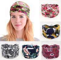 solide sport stirnbänder großhandel-Mode ethnischen Wind Haarband Breite Rand Druck Stirnband Vintage floral Volltonfarbe Retro Sport Yoga Haarschmuck