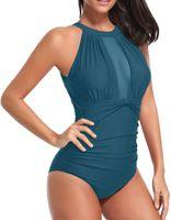 malha monokini venda por atacado-Plus Size Swimwear Mulheres One Piece Swimsuit 2019 Sexy Malha 1 Onepiece Monokini Terno de Natação Para Maiô Feminino Tamanho Grande