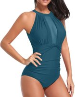 Wholesale plus sized swimwear for women online - Plus Size Swimwear Women One Piece Swimsuit Sexy Mesh Onepiece Monokini Swimming Suit For Female Bathing Suit Large Size