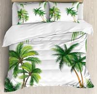 juegos de cama de árbol rey al por mayor-Juego de fundas nórdicas tropicales Juego de cama King Size Coconut Palm Tree Nature Paradise Hojas de follaje Hojas digitales de 4 piezas