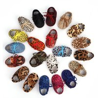 Wholesale first soft shoes resale online - Baby Girl Shoes Leopard Soft Bottom Genuine Leather Scrub Shoes Infant First Walkers Baby Shoe M
