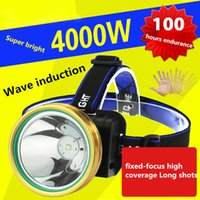 Wholesale powerful headlamps resale online - LED Headlamp Powerful Light Charging Induction Mineral Lamp Night Fishing Head wearing Waterproof Super bright Wave Induction