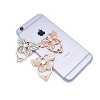 Wholesale elegant phone holder for sale – best Luxury Ring Mobile Phone Holder For iPhone Samsung Elegant Butterfly Bow Bling Diamond Unique Cell Phone Holder Fashion with package Hot