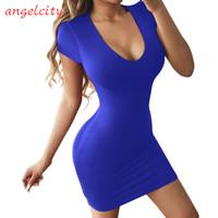 tight dressed hot sexy al por mayor-Hot Tight Dress Summer Bag Falda de la cadera Vestido de manga corta de las mujeres Falda de cuello redondo de corte bajo sexy Falda de una línea 2019 Estilo americano europeo