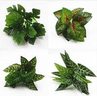 ingrosso piante di foglie piccole-Simulato materiale decorativo da parete vegetale verde piantando una piccola pianta in vaso con 12 foglie di tartaruga W1077