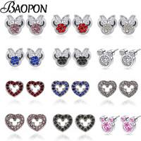 anime maus mädchen großhandel-BAOPON-Karikatur-Anime-Art-Mäusesilber-Farben-feiner Ohrring für WomenGirls Bolzen-Ohrring-Schmucksachen Dropshipping