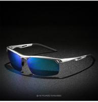 gafas de sol de aluminio polarizadas para hombres al por mayor-Gafas de sol polarizadas de los hombres Tendencia de los hombres Gafas de sol de aluminio Aleación de magnesio Moda Deportes Gafas de conducir + Caja