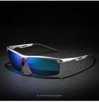 men s óculos polarizados de alumínio venda por atacado-Polarizada óculos de sol dos homens Tendência dos homens De Alumínio e Liga De Magnésio Moda Óculos De Sol Esportes Condução Óculos + Caixa