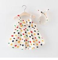 ingrosso ragazze del vestito dalla principessa di estate del puntino di polka-bambini vestiti firmati Girl Dress Summer Sleeveless Polka Dots Print Design Dress Princess Girl Clothing Dress + fascia