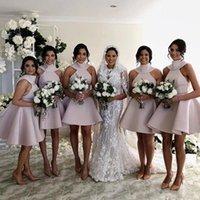 vestido grande tamanho joelhos venda por atacado-2019 rosa claro puffy vestido de baile grande arco na altura do joelho vestidos de dama de honra árabes formal dama de honra plus size wedding party dress bm0695