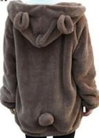 Wholesale cute women color wool coats resale online - Hot Sale Women Hoodies Zipper Girl Winter Loose Fluffy Bear Ear Hoodie Hooded Jacket Warm Outerwear Coat Cute Sweatshirt Hoody