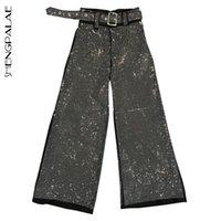 parlayan kanadı toptan satış-SHENGPALAE 2018 Moda Yeni Shining Gevşek Sashes Casual Kadın Pantolon Trendy Sonbahar Gelgit Kişilik Sıcak Satış Dipleri BE734
