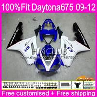 triunfo 675 carenado azul blanco al por mayor-Injection For Triumph Daytona 675 09 10 11 12 Carrocería 44HM.6 Hot White Blue Daytona-675 Daytona675 Daytona 675 2009 2010 2011 2012 Fairing