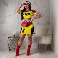 iki parça üst üst etek toptan satış-Kadın Tasarımcı Eşofman Lüks FF Mektup Kısa Kollu Mahsul En + Etek İki Adet Elbise Seti Kıyafetler Yaz Spor S-XL C71204 Fends