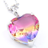 Wholesale silver 925 necklace gem resale online - Luckyshine NEW For Woman Heart Bi colored Tourmaline Gems Pendants Silver Necklace Pendant Jewelry NEW