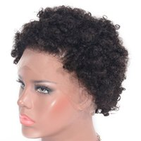 Wholesale human hair jet black for sale - Group buy Peruvian Afro Kinky Curly Full Lace Wigs Human Hair Wig Jet Black Glueless Lace Wigs for Women
