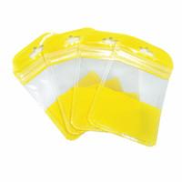ingrosso collana del sacchetto di plastica-Sacchetto con chiusura a zip richiudibile gialla Buco per appendere Accessori elettronici Collana per gioielli Borse per la conservazione Borse trasparenti per pacchetti in plastica