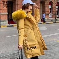 Jacke Outwear Parka Pocket Plus Winter Größe Winddichtes Kunstpelz Big Kapuze 2019 Mit Mantel Yellow Langen Yornmona Warm Frauen 7gYv6bfy