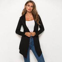 длинные летние кардиганы для женщин оптовых-Long Sleeve Women Slim Fit Cardigans 2019 Korean Spring Summer Solid Casual Sweaters Cardigan Coat