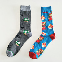 впитывающие носки оптовых-Cartoon Super Mario jacquard sock mushroom fashion novelty personalized men socks comfort sweat absorbent happy cotton crew sock