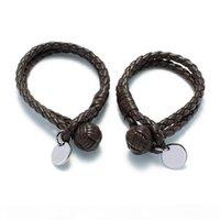 Wholesale titanium braided resale online - Italy Brand Braided Leather Bracelets Fashion Unisex Cuff Wristbands Luxury Titanium Steel Hanging Ornament Bracelet Lover Gift