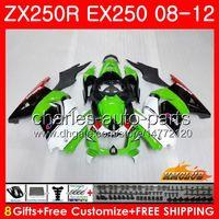 kawasaki ninja zx 12 r großhandel-Karosserien für KAWASAKI NINJA ZX250R EX-250 2008 2009 2010 2011 2012 13HC.48 EX250 ZX250 R ZX-250R ZX 250R 08 09 10 11 12 Verkleidungen grün schwarz