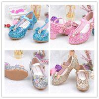 zapato de tacón alto para niños al por mayor-2019 primavera verano niñas brillo zapatos zapatos de tacón alto bowknot para los niños del partido lentejuelas sandalias correa para el tobillo princesa niños zapatos A42506