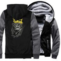 ingrosso re animale re-Animal King Of Lion Stampa Fashion Streetwear Felpa con cappuccio 2019 New Hot Thick Felpe Da Uomo Felpe Hip Hop Stile Punk Tute Cool