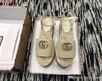 ingrosso bianco paglierino-2019 sandali decorativi double pearl estivi Sandali con suola spessa di paglia per il tempo libero e il comfort Rosso blu nero e bianco