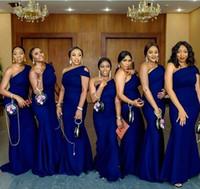 vestidos de las damas de honor del hombro del coral al por mayor-Azul, un hombro, sirena, vestidos de dama de honor, tren de barrido, sencillo, jardín africano, país, boda, vestidos de invitados, vestido de dama de honor y talla