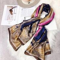 ingrosso sciarpe a catena-2019 sciarpa di seta nuova moda Sciarpa di seta con marchio LOGO catena sciarpa di seta classica casual autunno / inverno casual uomo e donna sciarpa shwal