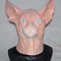katzenmasken für erwachsene großhandel-Hot Deluxe Design Halloween Cosplay Maske 100% Naturlatex Adult Hairless Cat Maske Gummi Sphynx Realistische Tierkopf