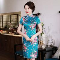 çince kadın kısa elbise toptan satış-Mandarin Yaka Lady Klasik Çin Tarzı Elbise Vintage Kısa Kollu Kadın Qipao Yenilik Rayon Cheongsam Büyük Boy Vestidso