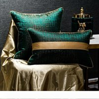 Wholesale chinese jacquard bedding resale online - New Chinese Style Patchwork Pure Color Cushion Cover Blackish Green Jacquard Waist Pillowcase Sofa Bed Decor Pillow Cover