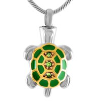 Wholesale pet cremation jewelry resale online - IJD8340 Stainless Steel Sea Turtle Cremation Jewelry for Ashes Necklace Keepsake Memorial Urn Pendant Ash Jewelry for Pets Human