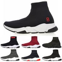 mejores botas negras al por mayor-Balenciaga Mejor descuento 2019 Speed Trainer Luxury Brand Shoes rojo gris negro blanco Calcetines clásicos planos Botas Zapatillas de deporte Mujer Entrenadores Tamaño 36-45